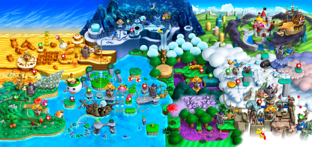 Want to know how bored Nintendo were when making this game? Just look at this world map. Seriously, on what planet do you find an ice covered mountain right next to a desert?